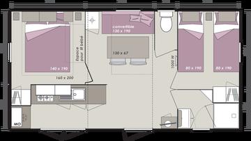 Mobil-home Confort Super Mercure Riviera 26m2 - 2 chambres